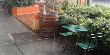 Hagel und Starkregen in Wien