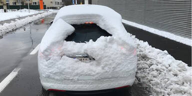 Schnee-Auto Polizei Oberösterreich