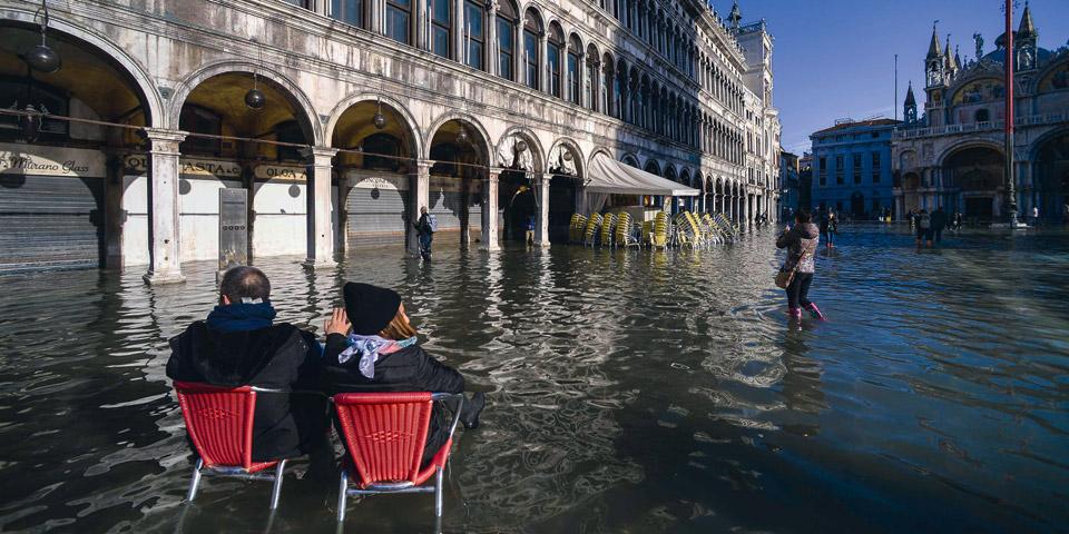 Venedig Überschwemmungen Markusplatz