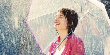 Wetter Regen Sommer Frau