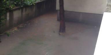 Überschwemmungen in Grinzing