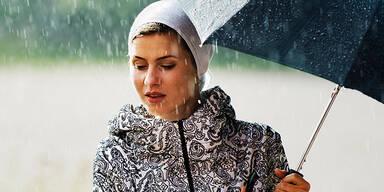 Wetter Regen Sommer Regenschirm Frau