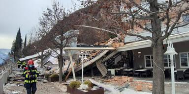 Felssturz zerstörte bekanntes Hotel in Bozen