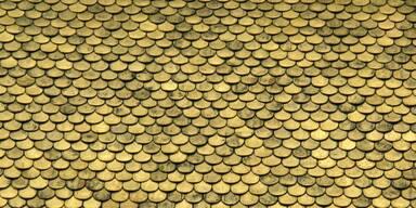 Vergoldete Kupferschindeln