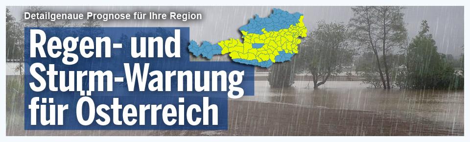 Regen- und Sturm-Warnung für Österreich