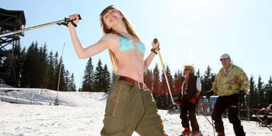 Skifahren Frühling Sonne