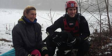 Hund Eis einegbrochen Vorarlberg