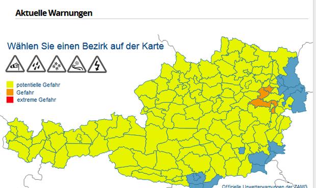 Karte Wien Niederosterreich.Hochste Unwetter Warnstufe Fur Wien Und No Wetter At