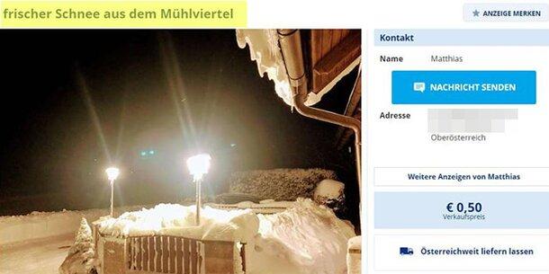 Mühlviertler verkauft frischen Schnee aus OÖ im Netz