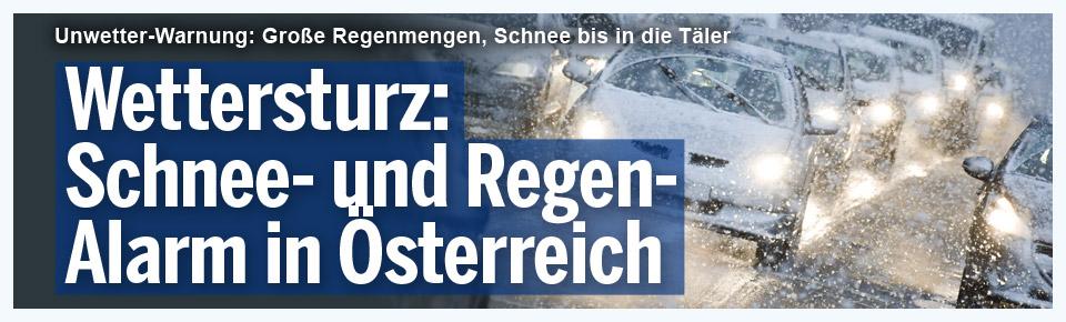 Wettersturz: Schnee- und Regen-Alarm in Österreich