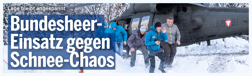 Bundesheer-Einsatz gegen Schnee-Chaos
