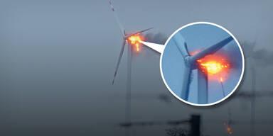 Erneut Windrad im Nordburgenland abgebrannt