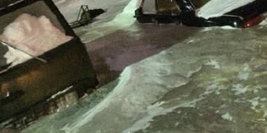 Russische Stadt zu Eisblock gefroren