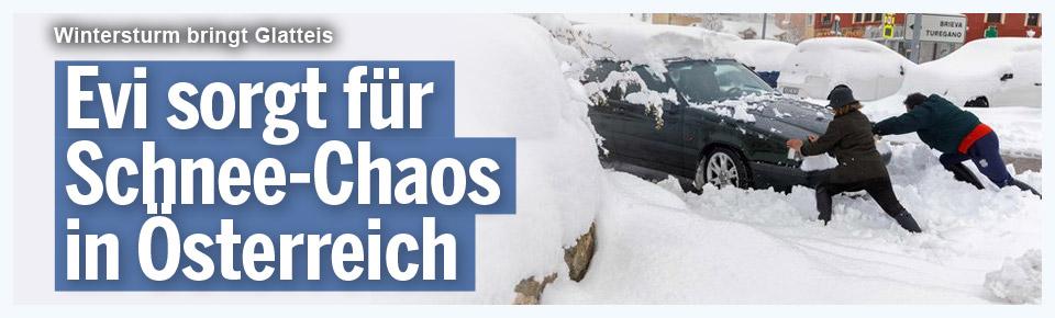 Evi sorgt für Schnee-Chaos in Österreich