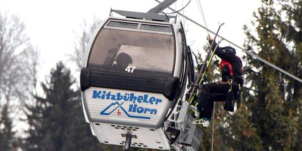 Evakuierung von Seilbahn in Kitzbühel