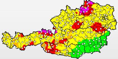 Unwetterübersicht für Österreich