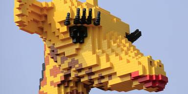 Eine Lego-Giraffe ist das neue Maskottchen eines chinesischen Einkaufszentrums