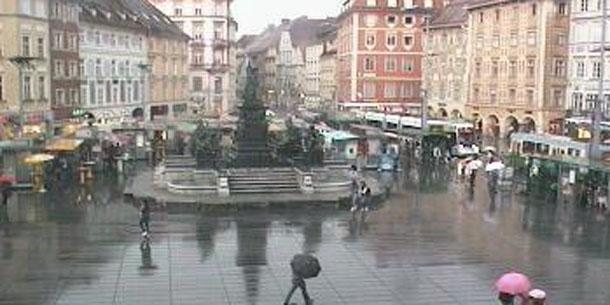 Der Steirischen Landeshauptstadt Graz Mittlerweile Sind Fast  Liter Pro Quadratmeter Zusammengekommen Innerhalbser Stunde Hat Es Von