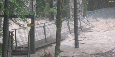 Hochwasser zwischen Kössen und Schleching