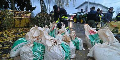 Sandsäcke im Jauntal vorbereitet