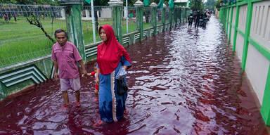 Blutrote Flut überschwemmt Dorf