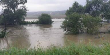 Binnen weniger Minuten mehr als 30 Liter Regen pro Quadratmeter