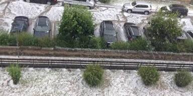 Hagelgewitter fegt über Klagenfurt