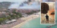 Brände: Massenpanik an italienischem Strand