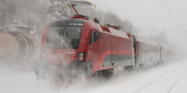 Winter Schnee Zug ÖBB