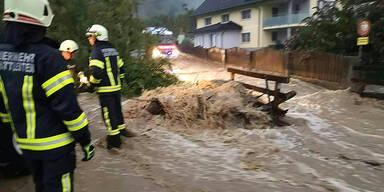 Überflutungen durch Starkregen in Oberösterreich