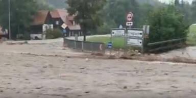 Spektakuläres Video zeigt Überschwemmung im steirischen Joglland