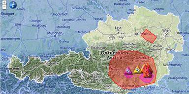 Unwetterwarnung für das südliche Österreich