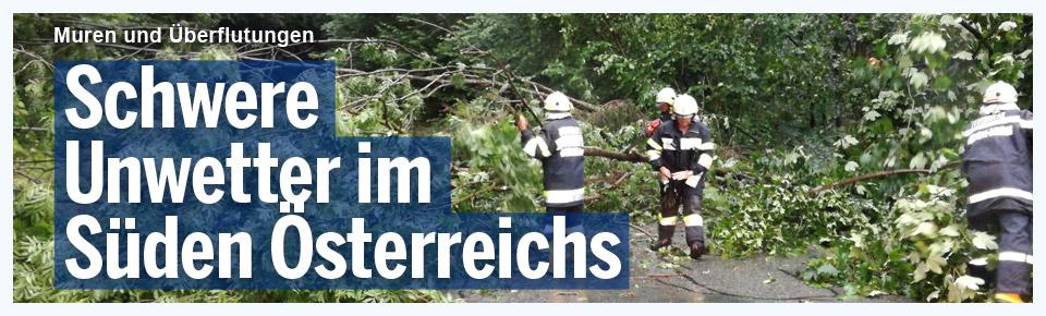 Schwere Unwetter-Schäden im Süden Österreichs