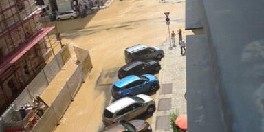 Wasserrohrbruch in der Wiener City