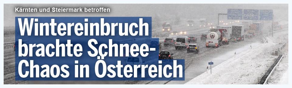 Wintereinbruch: Schnee-Chaos in Österreich